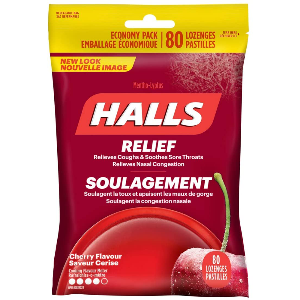Halls Triple Soothing Action Cough Drops | Cherry | 1 Resealable Bag | 80 Drops