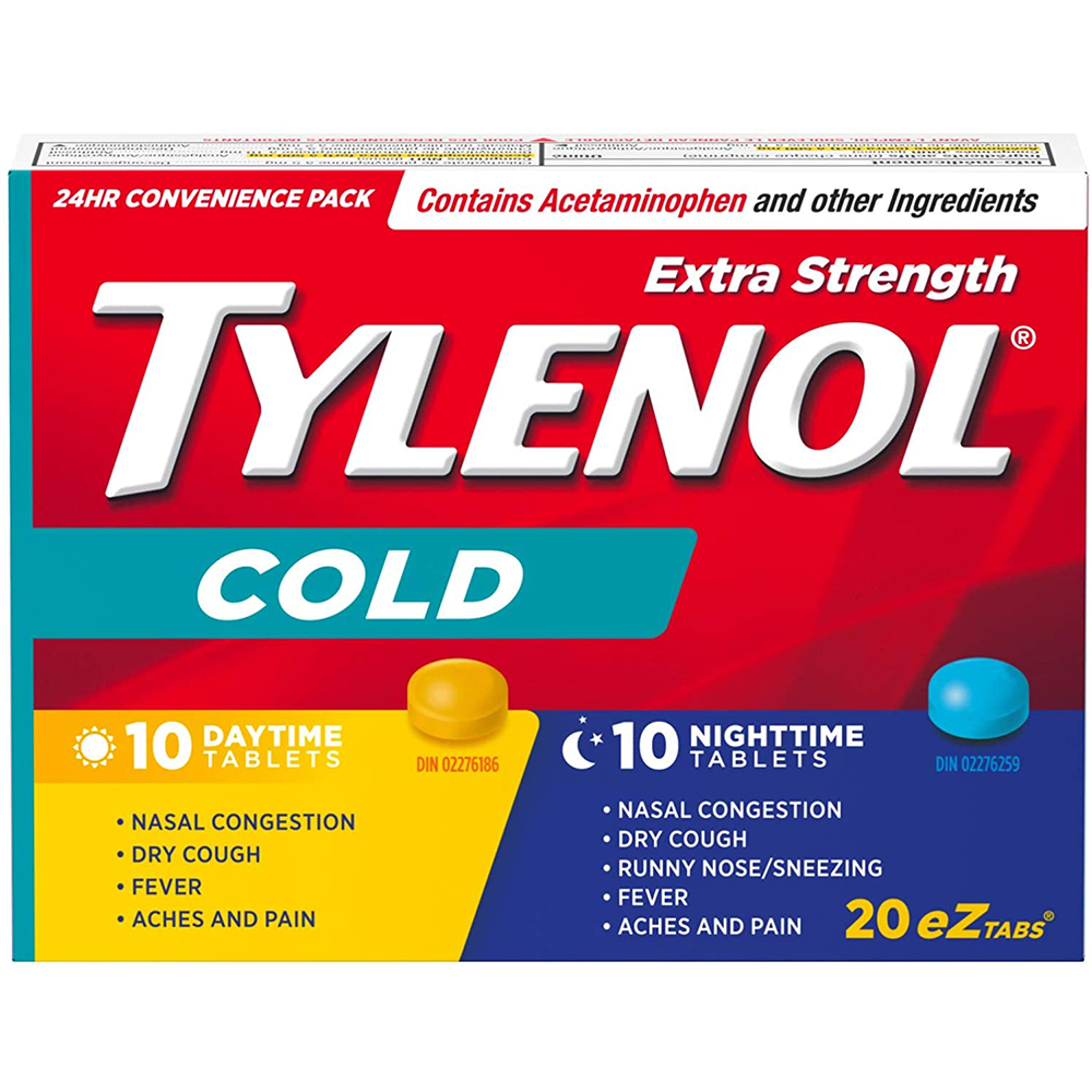 Tylenol Extra Strength Cold eZ Tabs | Relieves Cold symptoms |Day and Nighttime | 20ct