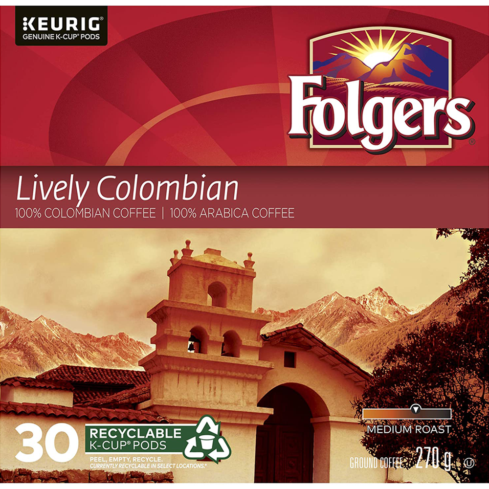 Folgers Lively Colombian K-Cup Coffee Pods | 30 Pack