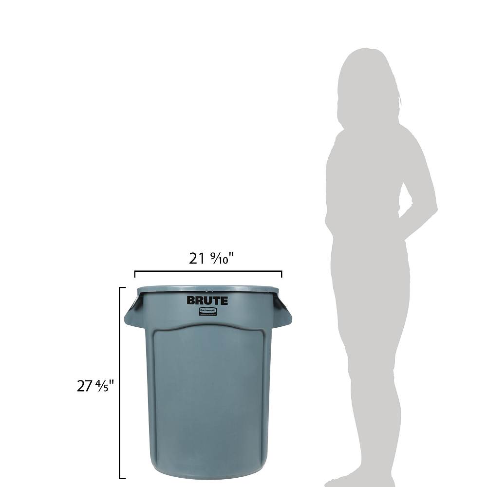 Rubbermaid Commercial Brute Vented 32-Gallon Container | Grey | Lifestyle