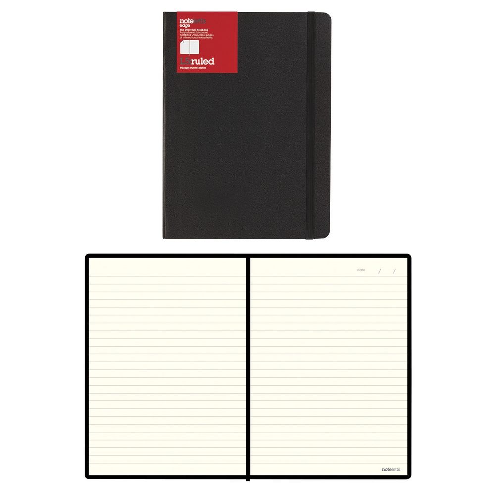 "Letts Edge Notebook | 192 Pages | Black | 8 1/4"" x 5 13/16"""