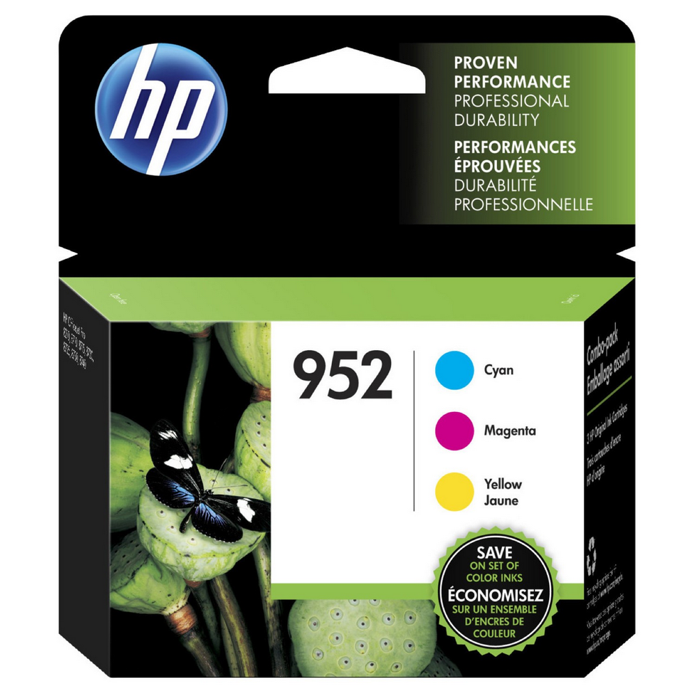 HP 952 Cyan, Magenta and Yellow Standard Yield Ink Cartridges | 3/PK (N9K27AN)