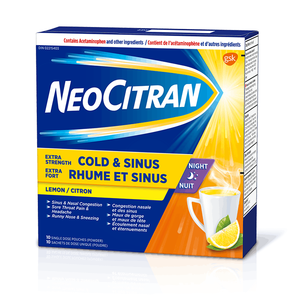 NeoCitran Extra Strength Cold & Sinus Night | Lemon | 10 Pouches