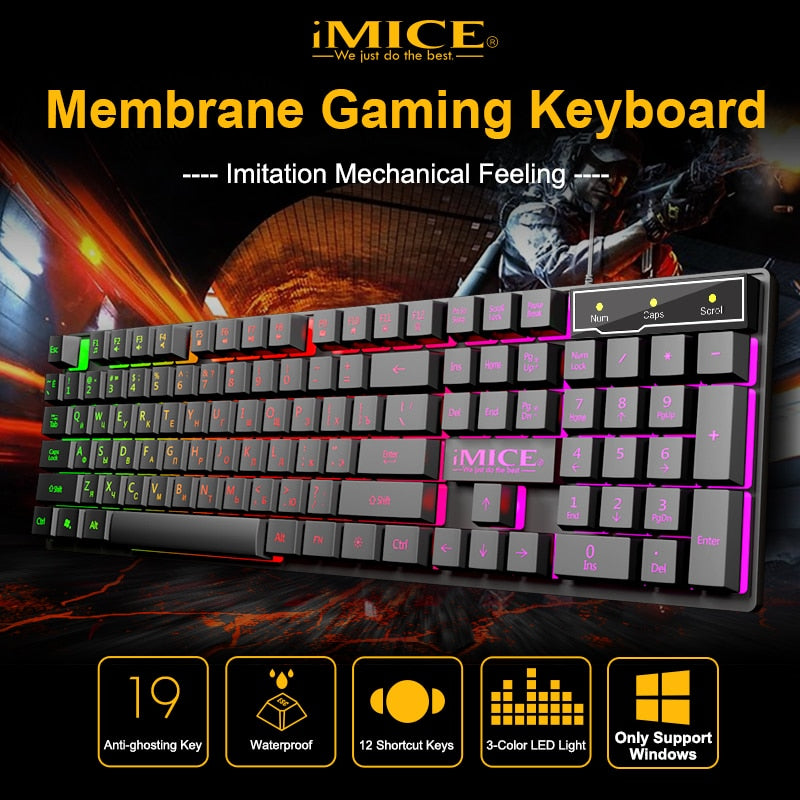 RGB Backlit Gaming Keyboard With Silent Gaming Mouse