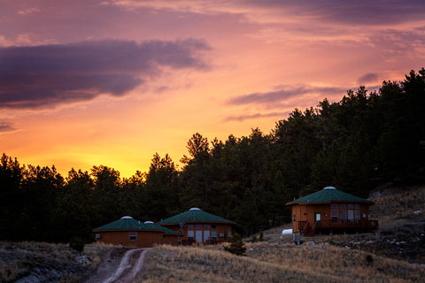 Morning over Kindness Ranch guest yurts