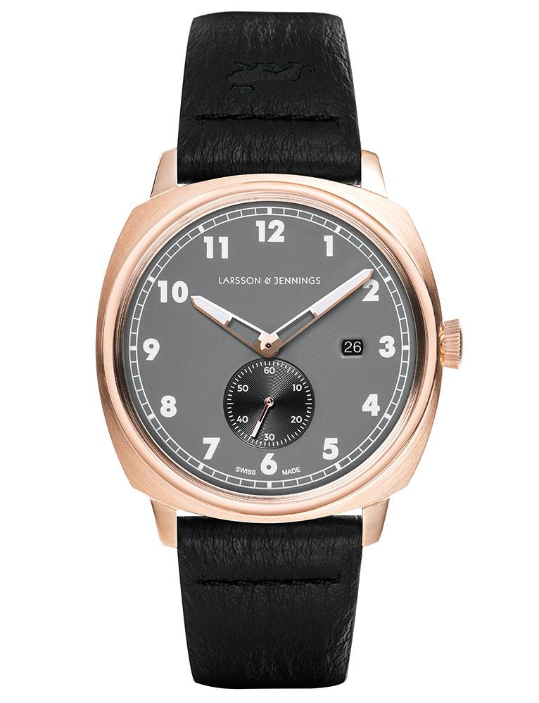 Meridian Leather 38mm Rose Gold Charcoal