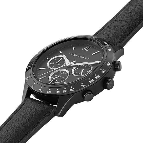 Rally Black Leather 39mm Black