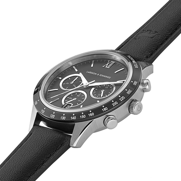 Rally Black Leather 39mm Silver Black