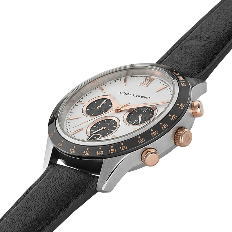 Rally Black Leather 39mm Silver Black White Rose Gold