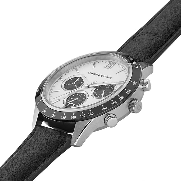Rally Black Leather 39mm Silver Black White