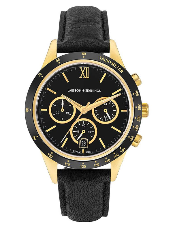 Rally Black Leather 39mm Gold Black