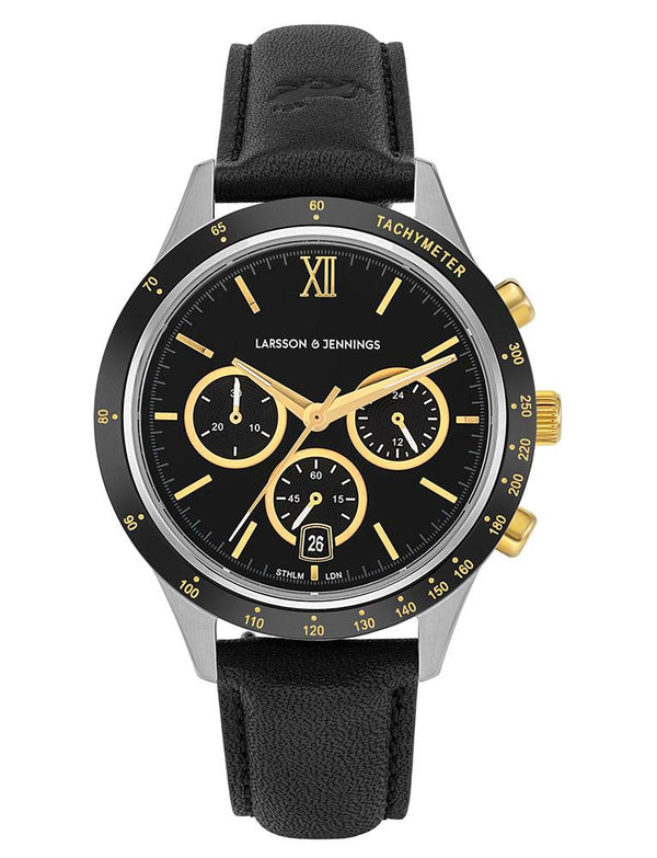 Rally Black Leather 39mm Silver Black Gold