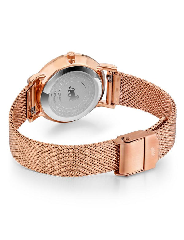 Lugano Milanese 33mm Rose Gold Satin-White