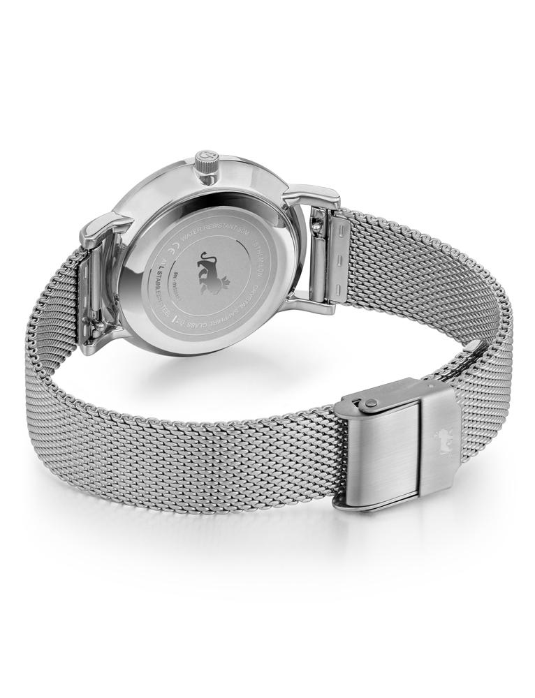 Lugano Milanese 33mm Silver Satin-White