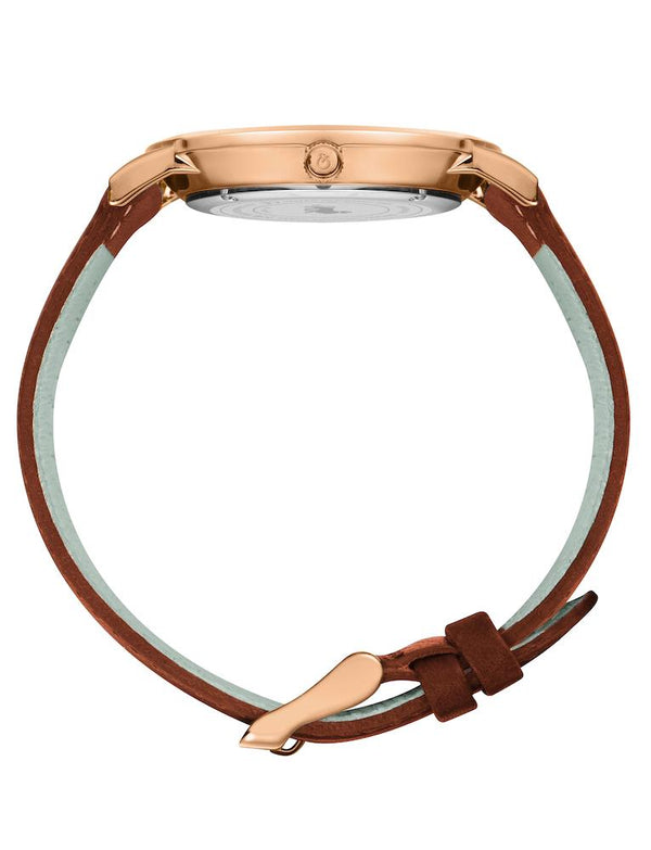 Lugano Brown Leather 40mm Rose Gold Satin-White