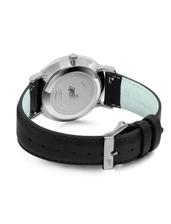 Lugano Black Leather 40mm Silver Satin-White
