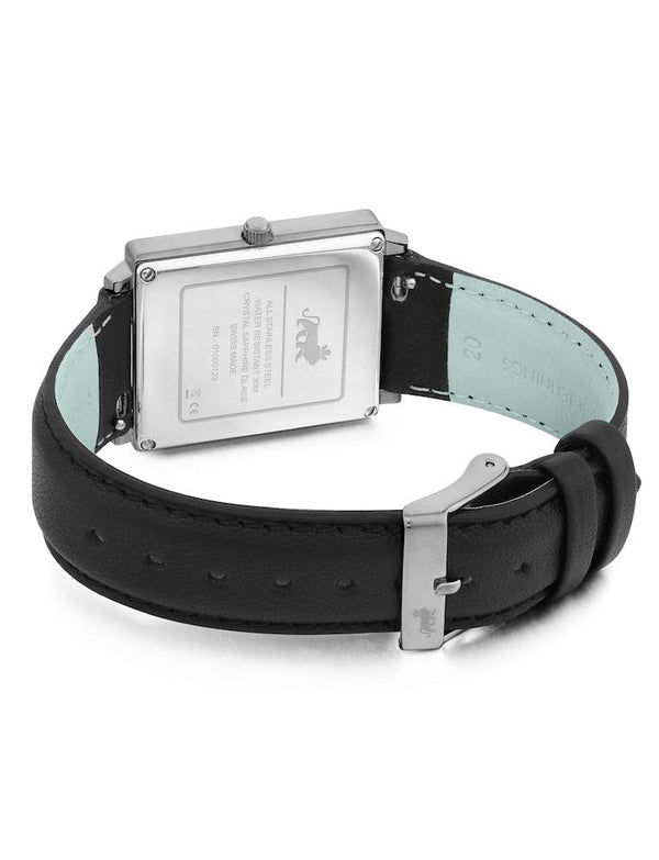 Norse Black Leather 40mm Silver Satin-White