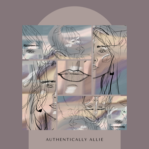 Authentically allie logo light purple background with beautiful line drawings of pieces of womens faces outlined with gold and blue.