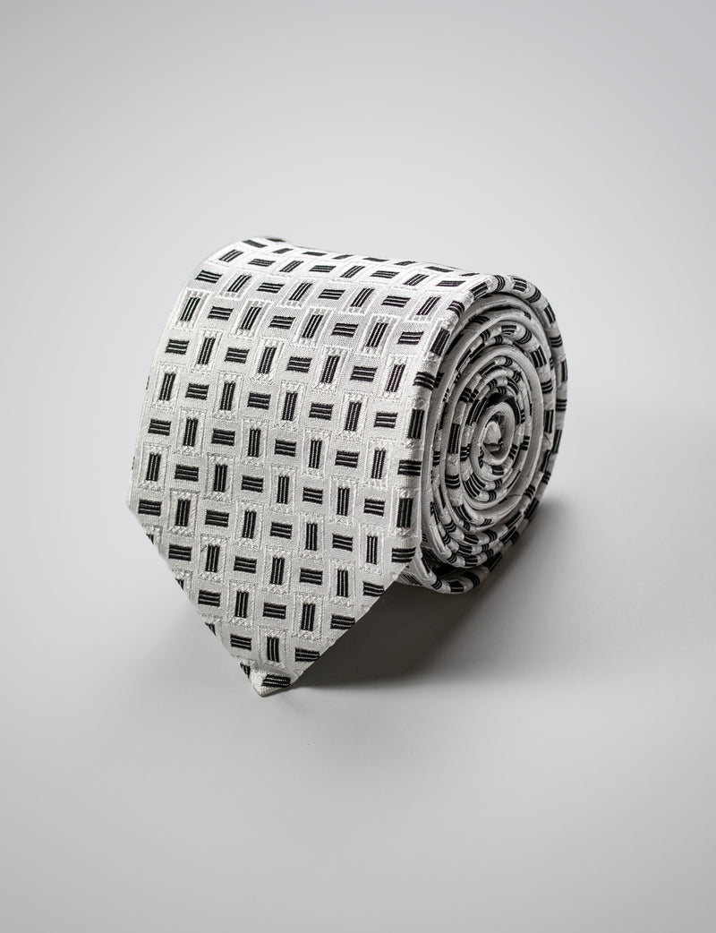 Black and Grey Panel Silk Tie