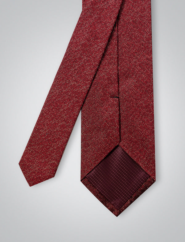 Textured Red Silk Tie
