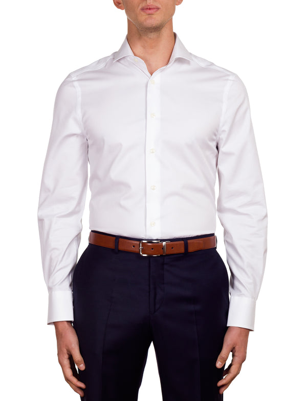 White Micro Stripe Business Shirt (Slim Fit)