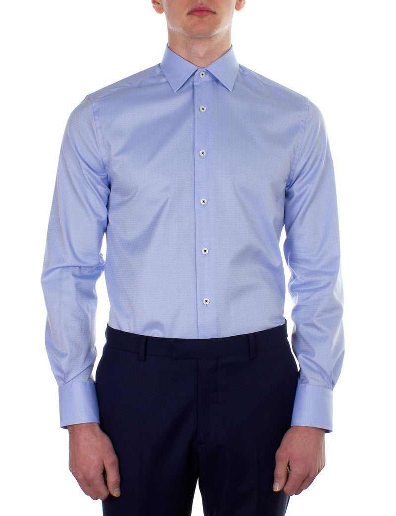Sky Herringbone Dobby Business Shirt (Slim Fit)