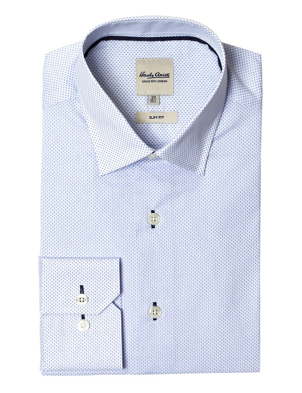 Light Blue Drop Print Business Shirt (Slim Fit)