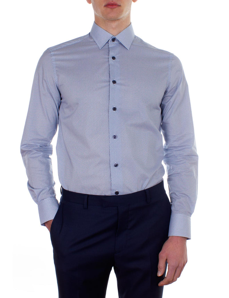 Navy Basketweave Print Business Shirt (Slim Fit)
