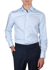 Blue Floral Print Business Shirt (Slim Fit)