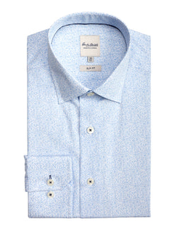 Light Blue Small Floral Print Business Shirt (Slim Fit)