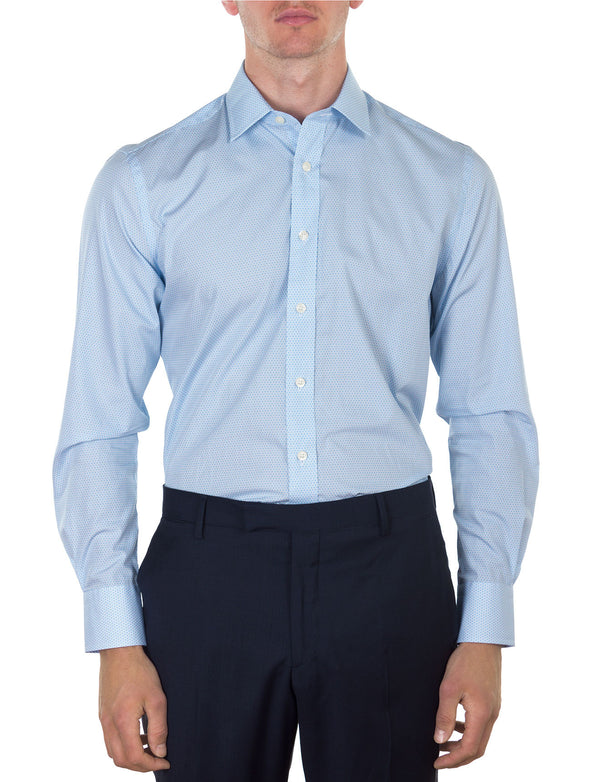 Aqua Geometric Print Business Shirt (Contemporary Fit)