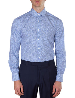 Blue Mini Floral Print Business Shirt (Slim Fit)