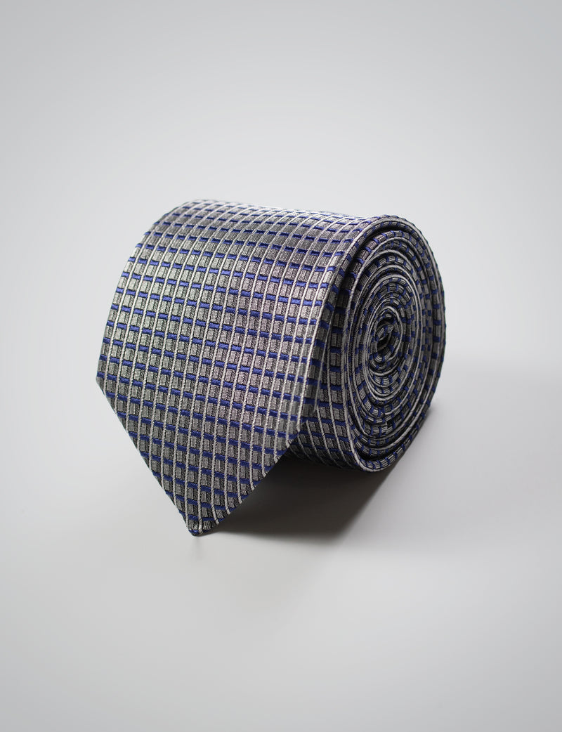 Silver Mini Stripe Silk Tie