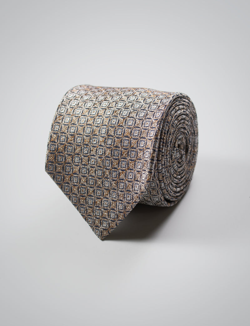 Gold and Navy Patterned Silk Tie