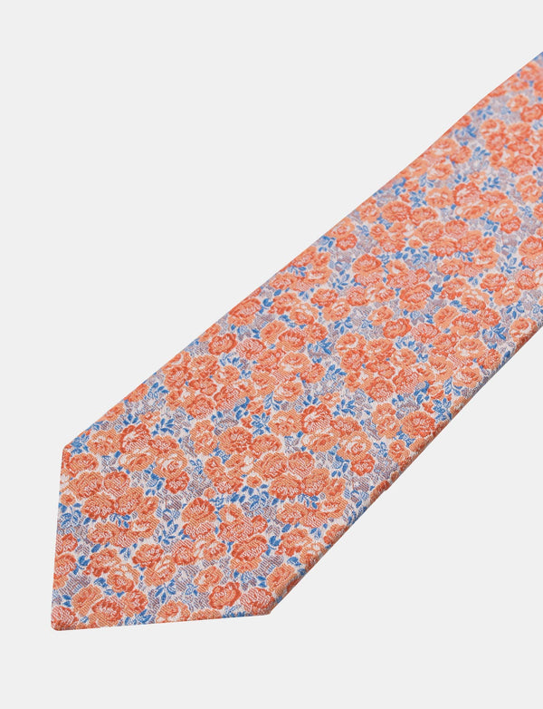 Orange Floral Silk Tie