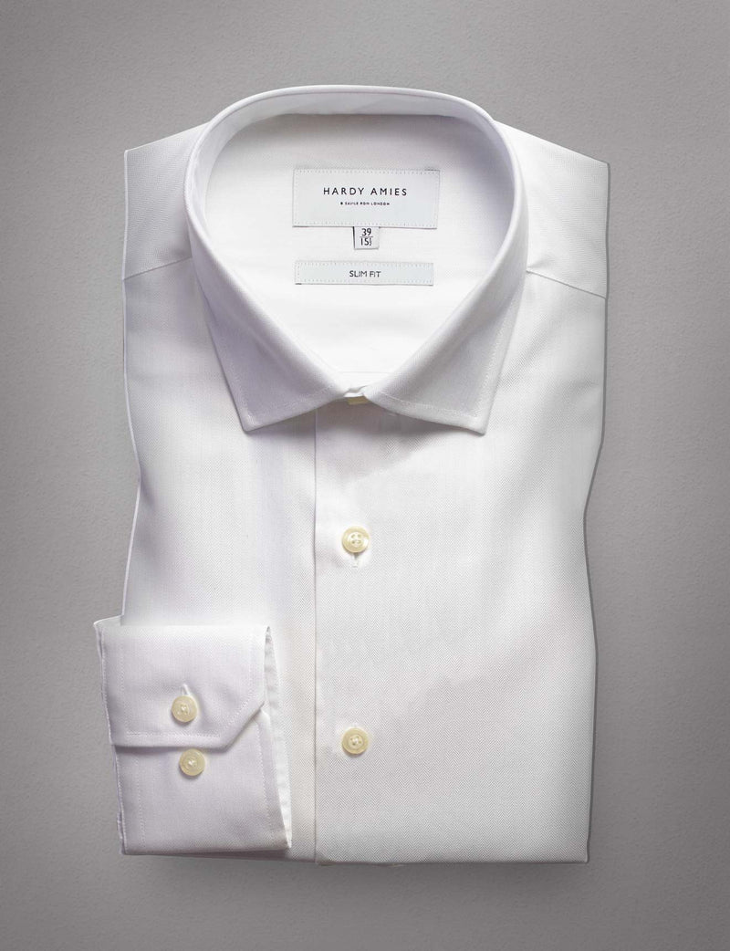 White Herringbone Business Shirt (Slim Fit)