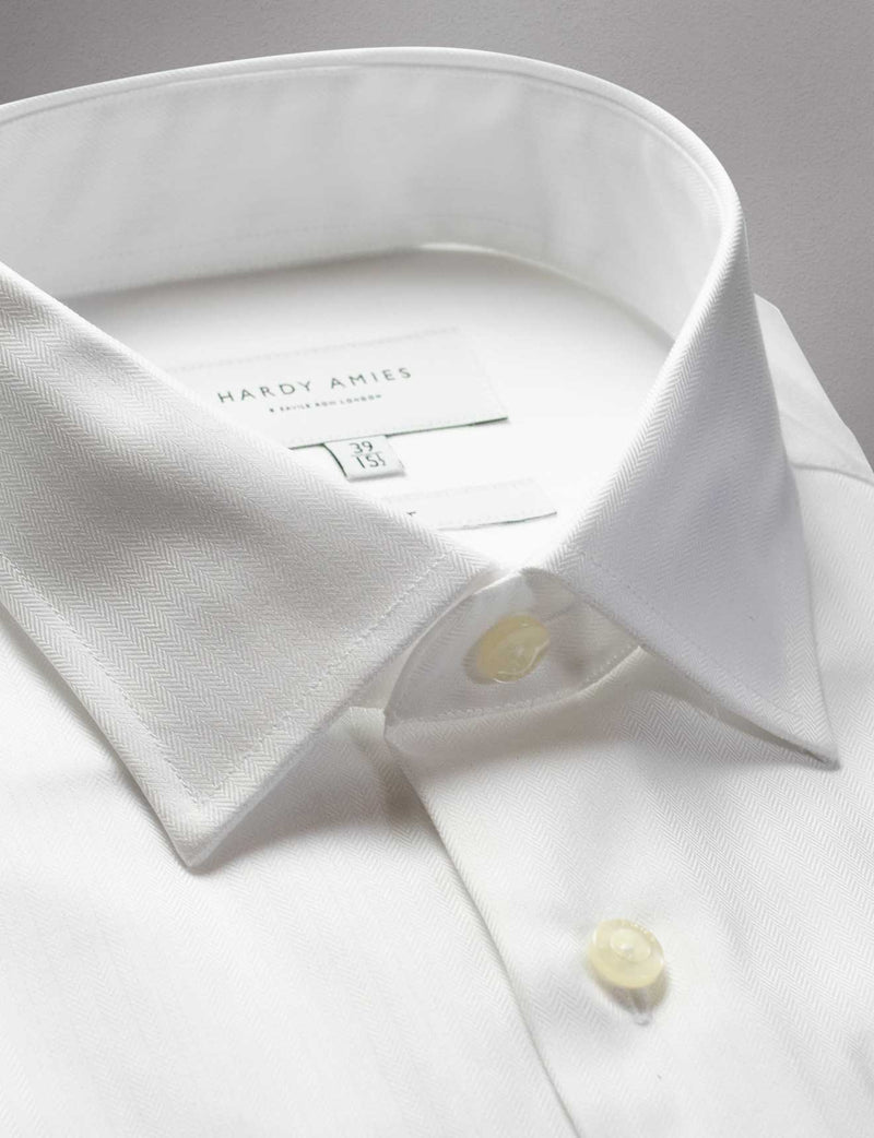 White Herringbone French Cuff Shirt (Slim Fit)