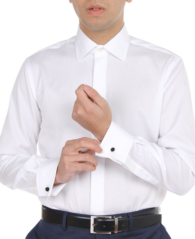 White Satin Stripe Dinner Shirt (Contemporary Fit)