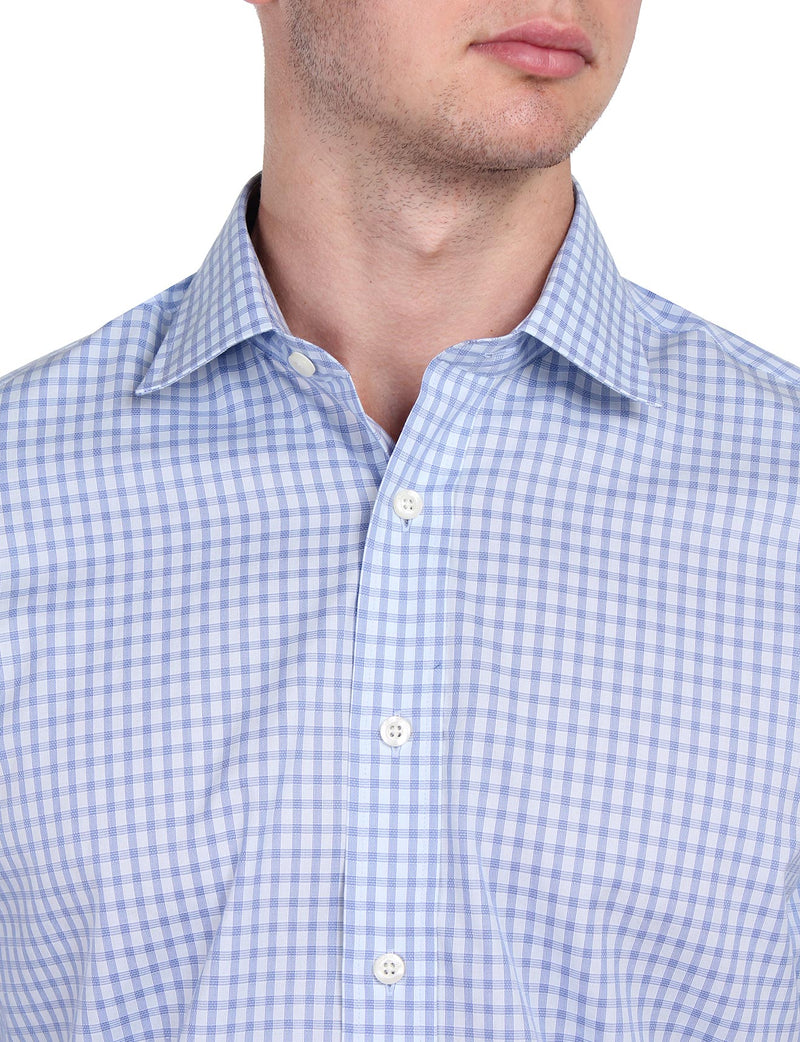 Light Blue Check Business Shirt (Contemporary Fit)
