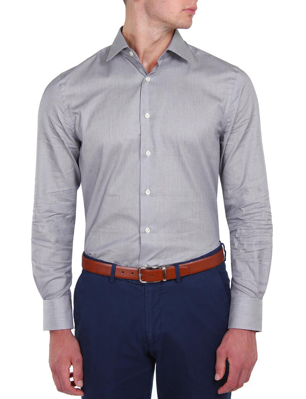 Grey Feather Stripe Business Shirt (Slim Fit)