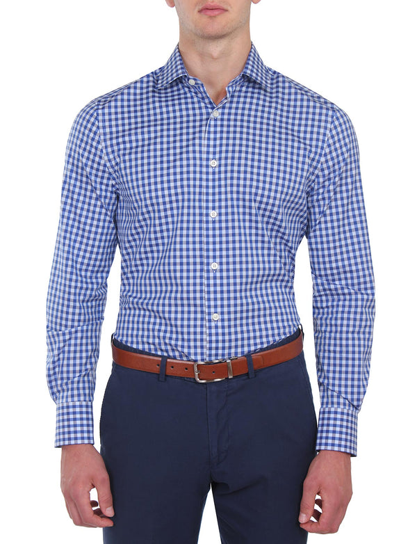 Blue Check Business Shirt (Slim Fit)