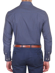 Navy Small Check Business Shirt (Slim Fit)