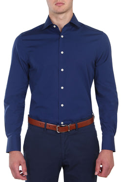 Navy Poplin Business Shirt (Slim Fit)