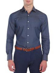 Navy Micro Spot Business Shirt (Slim Fit)