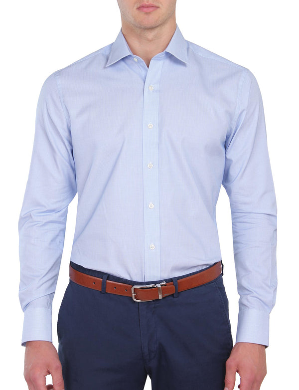 Blue Mini Check Business Shirt (Contemporary Fit)