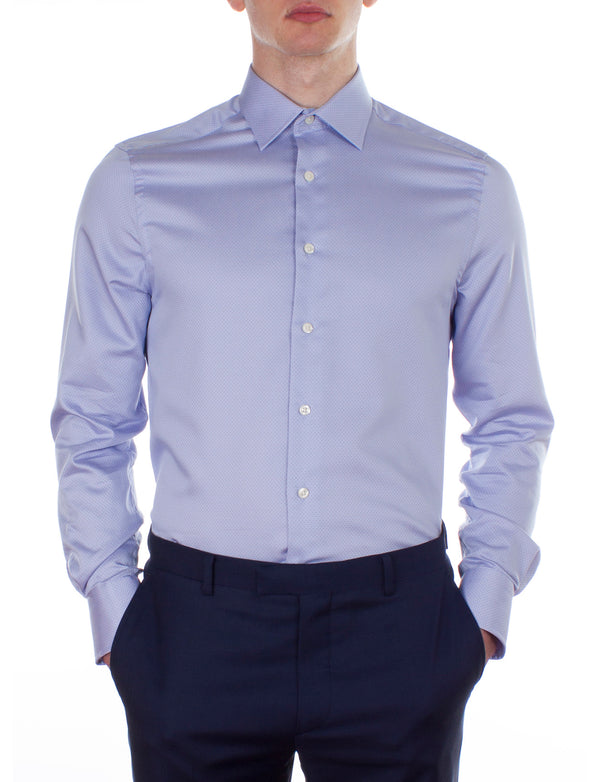 Light Blue Spot Dobby Business Shirt (Slim Fit)