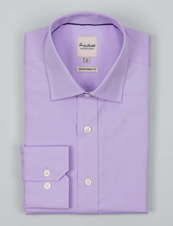 Lilac Fine Stripe Business Shirt (Contemporary Fit)