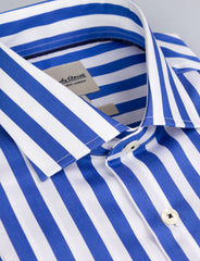 Bold Blue Stripe Business Shirt (Slim Fit)
