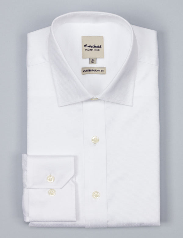 White Textured Geo Business Shirt (Contemporary Fit)