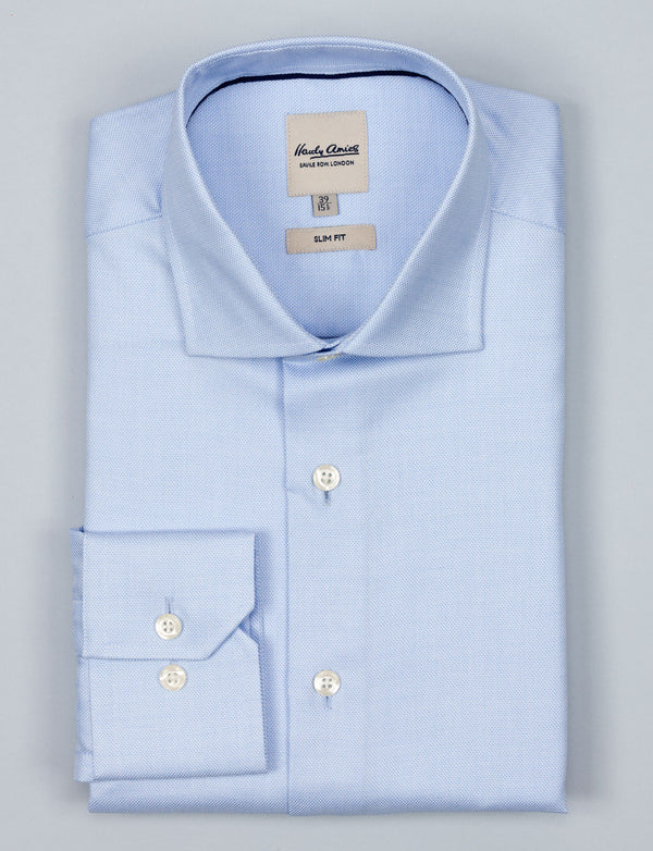 Blue Melange Twill Business Shirt (Slim Fit)